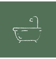 Bathtub with shower icon drawn in chalk vector