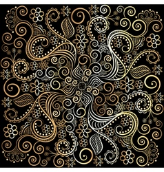 golden circular pattern on a dark background vector image vector image