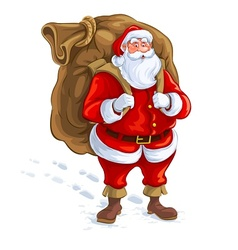 Santa claus with big sack of vector image vector image