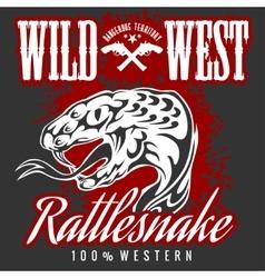 Wild west and rattlesnake - vintage artwork vector image