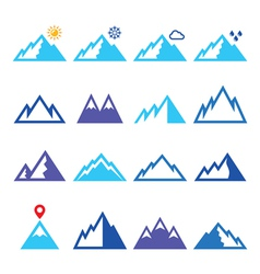 Mountains blue icons set vector image vector image