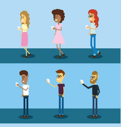 set people with smarphone social connection vector image