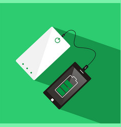 smartphone connected to power bank top view vector image