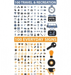 200 travel everyday signs vector
