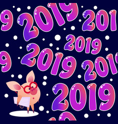 2019 seamless pattern with pig vector image