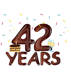 42 years anniversary celebration with cake vector