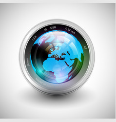 A camera with earth on it vector