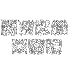 Abstract celtic animals and birds patterns vector