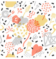 Abstract memphis seamless pattern romantic vector