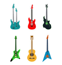 Acoustic electric guitar icons set isolated vector