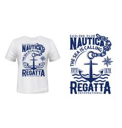 Anchor t-shirt print mockup yacht club regatta vector