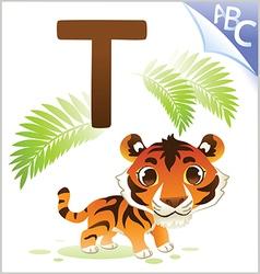 animal alphabet for kids t for tiger vector image