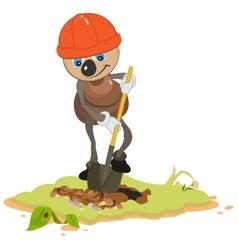Ant Worker digging shovel pit vector image