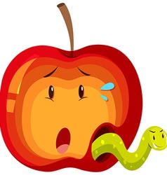Apple with green worm inside vector