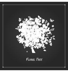 Art floral tree for your design on black vector image