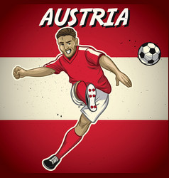 Austria soccer player with flag background vector