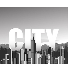 Black and white cityscape background vector