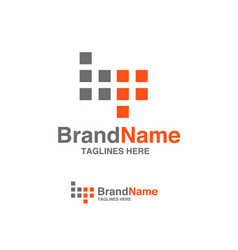 bp letter logo square block logo vector image