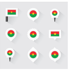 burkina faso flag and pins for infographic and vector image