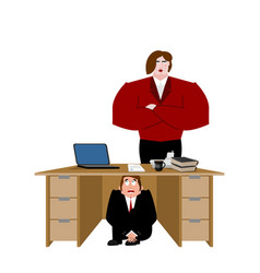 businessman scared under table of wife frightened vector image