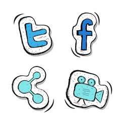 Buttons set facebook tweeter sharing video vector
