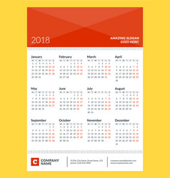 calendar poster for 2018 year week starts on vector image