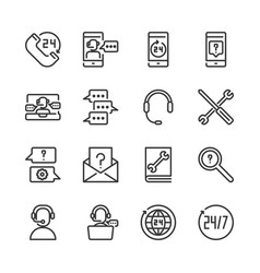 call center and support icon set vector image