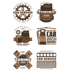 car service repair shop retro icon with auto part vector image