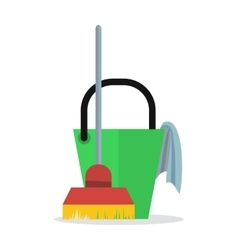 Cleaning Web Banner Bucket with Duster and Broom vector image