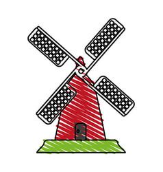 Color crayon stripe cartoon farm windmill vector