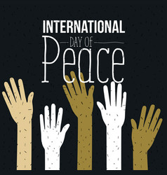 color poster of international day of peace with vector image