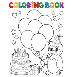 coloring book party penguin topic 1 vector image