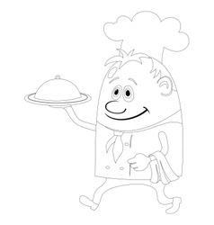 Cook with tray contour vector image