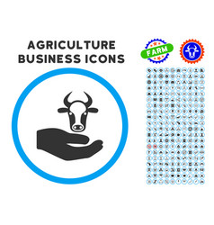 Cow care hand rounded icon with set vector