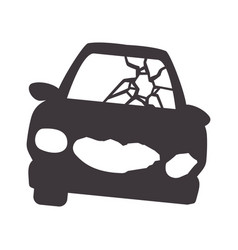 crash car and dangerous automobile accident vector image
