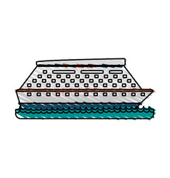 Cruise ship sideview icon image vector