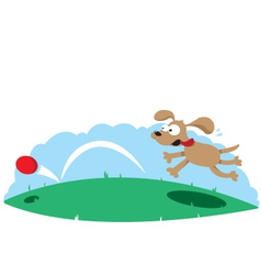 Cute dog and a ball vector