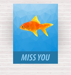 Cute polygonal goldfish design for card vector