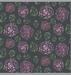 dark pattern with pale pink roses and green leaves vector image