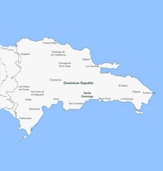 Detailed map dominican republic vector