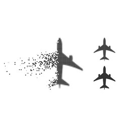 Disappearing dot halftone jet plane icon vector