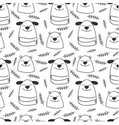 doodle line dogs and bears seamless pattern vector image