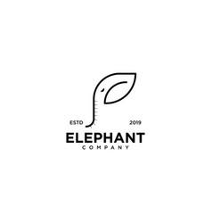Elephant logo line outline monoline art icon vector