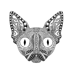 entangle stylized face black cat hand drawn vector image