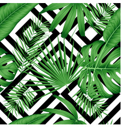 exotic seamless pattern with tropical leaves on a vector image