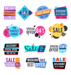 fashion design pricing tags and discount labels vector image