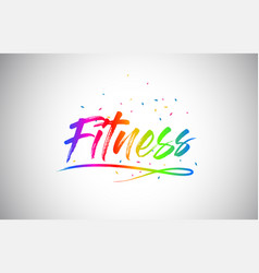 Fitness creative vetor word text with handwritten vector
