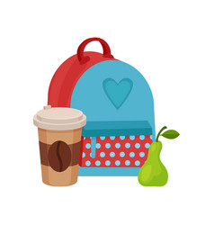 Flat of school lunch backpack vector