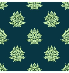 Floral light green damask seamless pattern vector