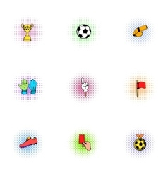 Football icons set pop-art style vector